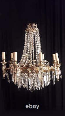 Antique french bronze and crystal chandelier. AA 1463