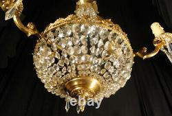 Antique french solid bronze and glass chandelier (1288)