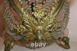 Antique ornate bronze brass crystal Empire style ceiling fixture chandelier