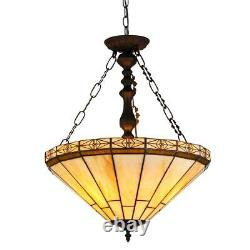 BELLE Tiffany-style 2 Light Mission Inverted Ceiling Pendant Fixture 18 Shade