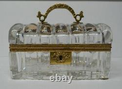 Baccarat Cut Box, Hand Cut Crystal with Domed Lid and Bronze Handle RARE