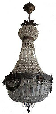 Bronze Antique Patina French Empire Garland Acanthus Basket Crystal Chandelier