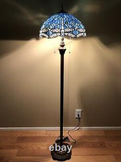 Enjoy Tiffany Style Floor Lamp Crystal Blue Stained Glass Dragonfly Vintage 64H