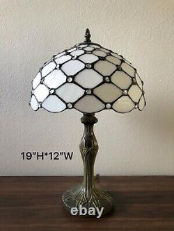 Enjoy Tiffany Style Table Lamp Crystal Bean White Stained Glass Vintage 19H12W