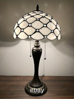 Enjoy Tiffany Style Table Lamp Crystal Bean White Stained Glass Vintage 22H12W