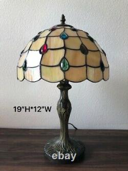 Enjoy Tiffany Style Table Lamp Stained Glass Crystal Beans Vintage 19H12W