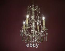 Fine Antique 4 Light French Crystal Nickel Chandelier Ceiling Lamp Living Room