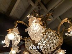 French Antique Gilded Mercury Bronze And Crystal Chandelier Circa 1880 Stunning