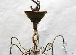 French Ceiling 5 Light Cage Chandelier Bronze Cut Crystal Prisms