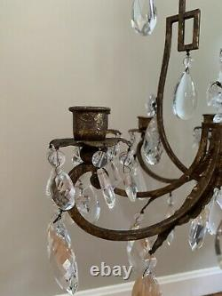 French Chinoiserie Iron Crystal Chandelier Pagoda Oriental Candle De Fete