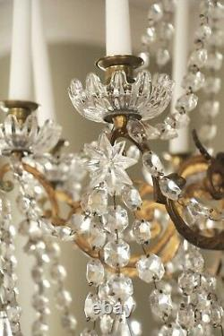 French Crystal Chandelier Gilt Bronze Shabby Chic AMAZING Antique 19th C