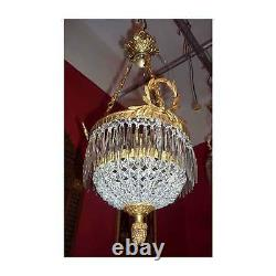 French Gilded Brass Crystal Chains Acanthus Finial Ceiling Chandelier Light