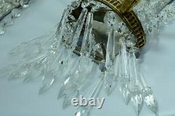 French LOUIS XVI WALL SCONCES Pampilles Crystal Prisms Swan Bronze LUCIEN GAU