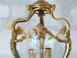 French Lantern Louis XV Shell Bronze Rare Curved Glass 20TH Chandelier Ceiling
