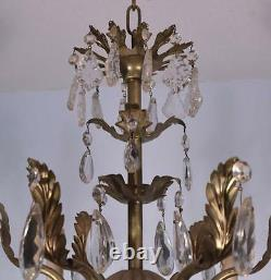 French Vintage Silver Painted Bronze & Crystal Chandelier/Hanging Lamp