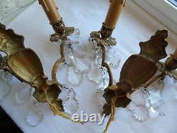 French a pair of antique / vintage gorgeous wall light bronze crystals