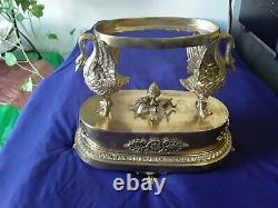 French bronze/crystal empire style swan centerpiece