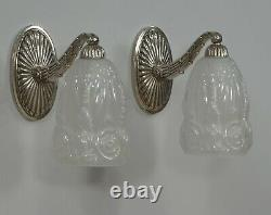 HETTIER & VINCENT pair FRENCH 1930 ART DECO WALL SCONCES lights Baccarat 1925
