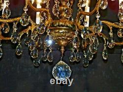HUGE Antique French Rococo 8 Arm 8 Lite Brass Bronze Cut Lead Crystal Chandelier