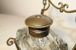 HUGE antique French gilt bronze cut crystal inkwell writing desk jar 1800 stand