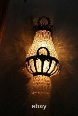 Handmade Rustic Pair Bow Garland Crystal Beads Bronze Ornate Wall Sconces Lights