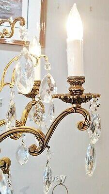 LARGE Antique 20th C FRENCH 6 Arm BRONZE & CRYSTAL CHANDELIER