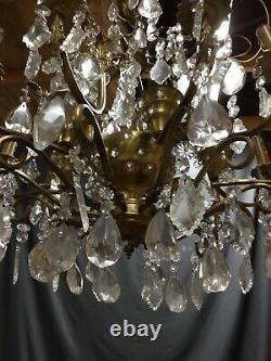 Large 19th Century Victorian Bronze Crystal Chandelier Ceiling Light Fixture
