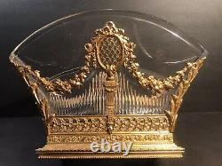 Large Antique Bronze And Crystal Centerpiece/ Jardiniere / France C. 1900/ 8 H