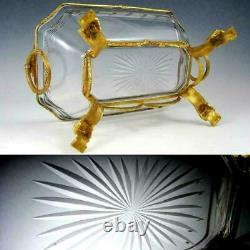Large Antique French Baccarat Crystal Centerpiece Bowl Empire Gilt Bronze Stand