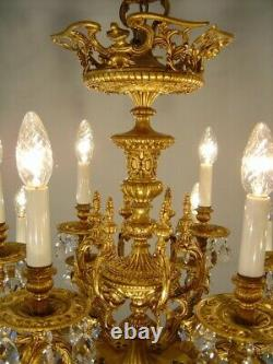 Large Brass Crystal Chandelier Glass Chains Old Lamp Living Room