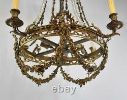 Large Rococo Bronze with Hand Cut Crystals Chandelier Light Fixture