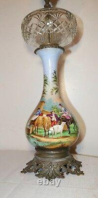 Large antique hand painted porcelain bronze crystal electrified oil table lamp
