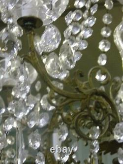 Lustrous 10 Light Large French Multi Crystal Chandelier 19th century-REDUCED
