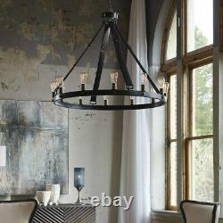Marlow Restoration Inspired XXL 40 Aged Metal Dining Chandelier Leather Straps