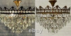 Matching Pair of Antique Vintage Brass & Crystals Low Ceiling Chandeliers Lamps