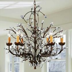 New Antique Bronze 6-Light Crystal and Iron Chandelier