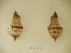 OLD French Crystal Prisms Bronze Sconces Empire Rare Beautiful Vintage