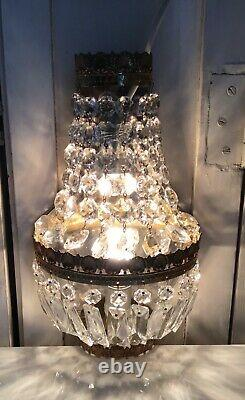 Pair French Half Round Crystal Bronze Empire Small Wall Sconces