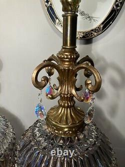 Pair Of Large Vintage Falkenstein Clear Carnival Glass Lamps with Glass Prisms