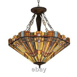 SAXON Tiffany-style 3 Light Mission Inverted Ceiling Pendant Fixture 24 Shade