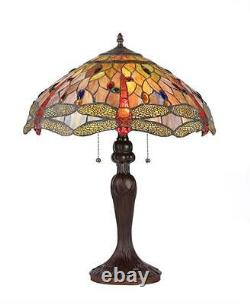 Stained Glass Chloe Lighting Dragonfly 3 Light Table Lamp 18 Shade Handcrafted