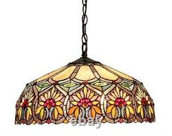 Stained Glass Chloe Lighting Floral 2 Light Ceiling Pendant Fixture 18 Shade