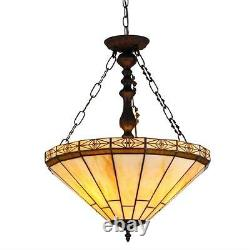 Stained Glass Chloe Lighting Mission 2 Light Inverted Pendant Fixture 18 Shade