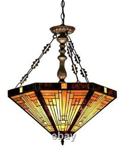 Stained Glass Chloe Lighting Mission 3 Light Inverted Pendant Fixture 22 Shade