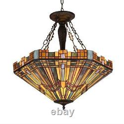 Stained Glass Chloe Lighting Mission 3 Light Inverted Pendant Fixture 24 Shade