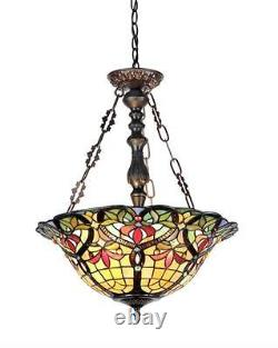 Stained Glass Chloe Lighting Victorian 3 Light Inverted Pendant Fixture 18 Wide