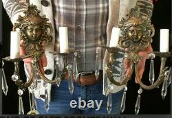TWO VINTAGE CAST BRONZE WALL SCONCES with PRISMS. WELL CAST WITH DIGITAL MASKS