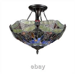 Tiffany Style Stained Glass 16 Shade Semi-Flush Ceiling Light Dragonfly Design