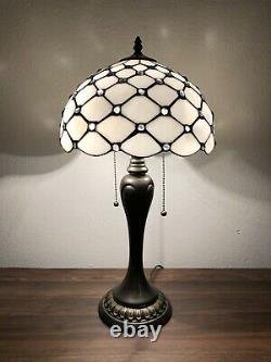 Tiffany Style Table Lamp Crystal Beans White Stained Glass Antique Vintage H22