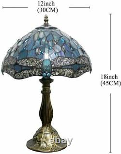 Tiffany Style Table Lamp Dragonfly Blue Green Stained Glass Antique Vintage H18